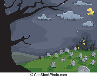 Graveyard Background - Background Halloween Illustration...