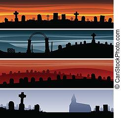 Graveyard Banners - Set of cartoon graveyard banners.