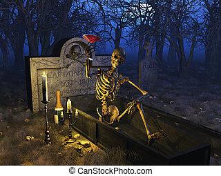 Graveyard Celebration - A fun loving party skeleton enjoys a...