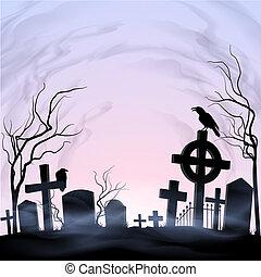 Graveyard - Dawn on the graveyard. Fog and clouds. Birds.