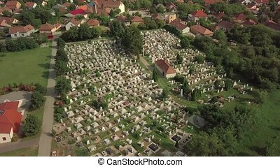 Cemetery of a village from above, aerial drone footage