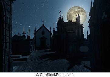 Graveyard halloween background