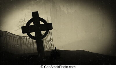 "graveyard."", halloween, donker, pompoennen, ""3d, kasteel"