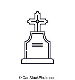 Graveyard icon, linear isolated illustration, thin line vector, web design sign, outline concept symbol with editable stroke on white background.