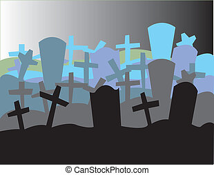 Illustration of a graveyard fading off into the distance