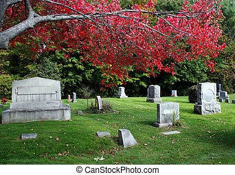 A canopy of bright red leaves cover the headstones in this cemetery.