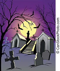 Night scene with a graveyard and the full moon