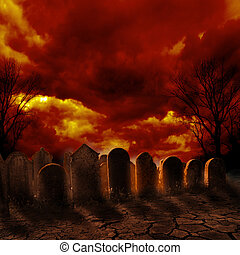 Spooky graveyard with burning sky