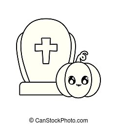 graveyard tombstone with pumpkin of halloween