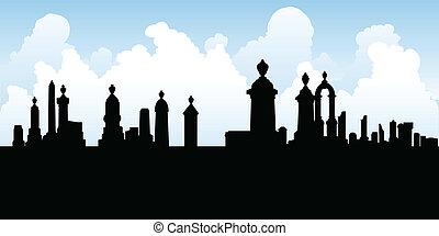 Graveyard Tombstones - Silhouette of tombstones in a spooky...