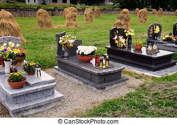 Graveyard with haystacks