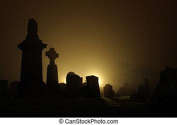 Graveyard with night fog