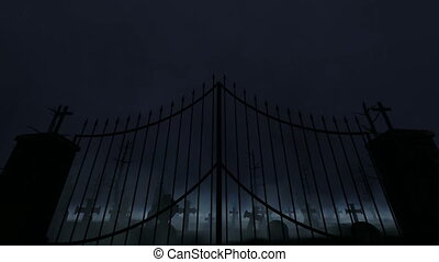 Graveyard with old gate, fog and rain and thunder
