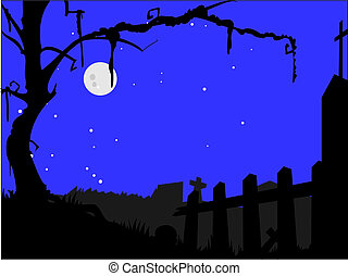 graveyard with tree and tomb stones - simple layered vector...
