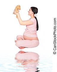 gravid, flicka, med, leksak