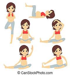 gravid, yoga, brunett, kvinna, ge sig sken