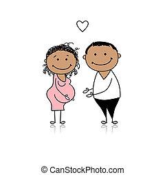 gravidez, esperando, pais, bebê, feliz
