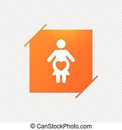 gravidez, icon., grávida, símbolo., sinal