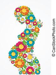 Gravidez, primavera, flores, mulher