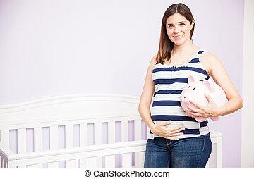 graviditet, pengar, must, besparing, under