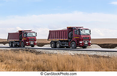 gravier, camions décharge