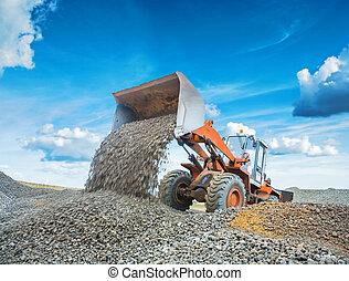 gravier, vieux, loadding, chargeur, excavateur, roue