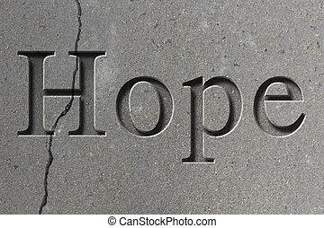 graviert, wort, hoffnung