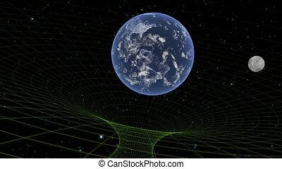Gravitational field Black hole Earth and Moon Deep starry space. digital world 4k