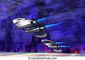 GRAVITATIONAL FORCES - Two spaceships speed along a nebular...