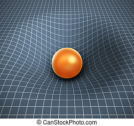 gravity 3d illustration - object affecting space   time