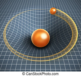 gravity 3d illustration - object affecting space time and other objects motion