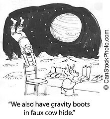 Gravity boots - man on mars finds gravity
