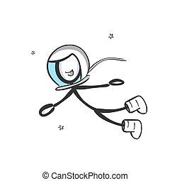 gravity., cartoon., zero, stickman, drawn., ręka, galaxy., ...