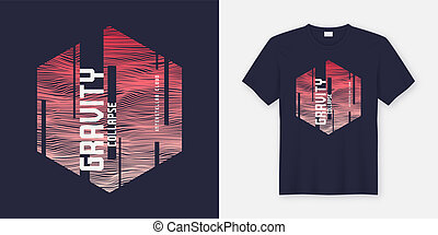 Gravity collapse abstract fashionable vector t-shirt and apparel