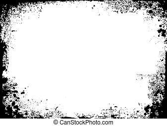 Black and white ink splat border in landscape