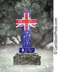 gravsten, -, australien, kyrkogård