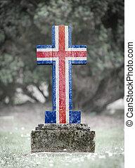 gravsten, island, -, kyrkogård
