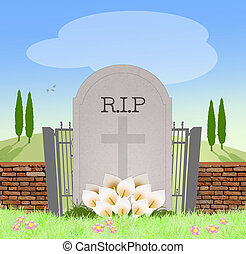 gravsten, kyrkogård