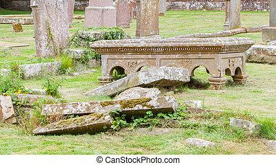 gravsten, mycket, bruten, gammal, kyrkogård