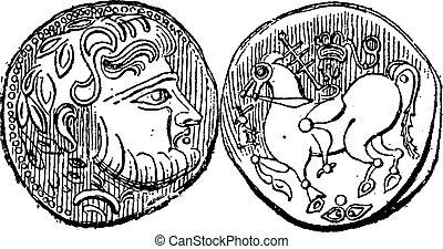 gravura, antiga, vindima, didrachma, moeda grega