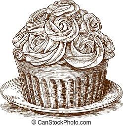 gravura, bolo, fundo branco