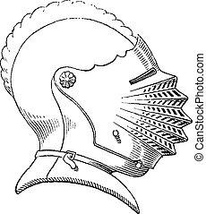 gravura, capacete, século, vindima, décimo quinto, galea, ou