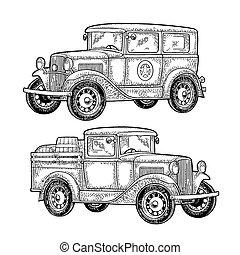 gravura, carro polícia, caminhão camionete, retro, vindima, barrel.
