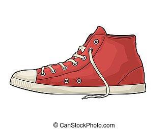 gravura, cor, vindima, sneakers., retro, vermelho