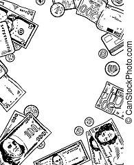 gravura, dinheiro, vetorial, ilustração