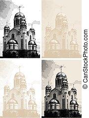 gravura, estilo, vetorial, fundo, igreja