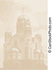 gravura, estilo, vetorial, fundo, igreja,  easters