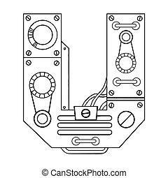 gravura, ilustração, vetorial, u, letra, mecânico