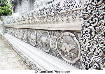 gravura, lanna, laca, quadro, tailandês, prata, ch, signos, templo