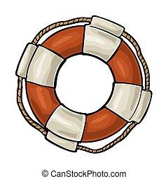 gravura, lifebuoy, vindima, isolado, corda, experiência., vetorial, branca